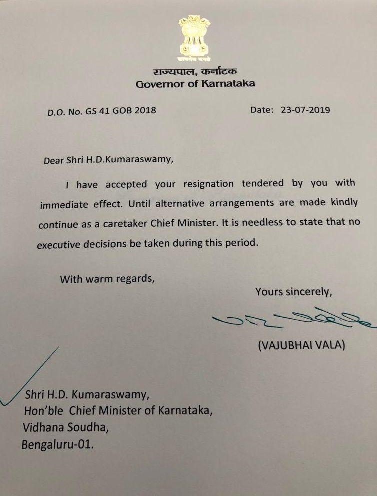 Governor, Vajubhai Vala accepts HD Kumaraswamy's resignation