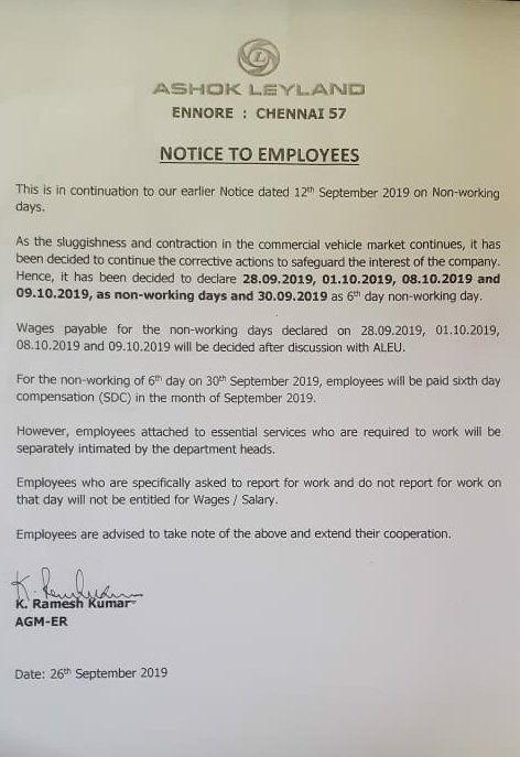 Ashok Leyland statement