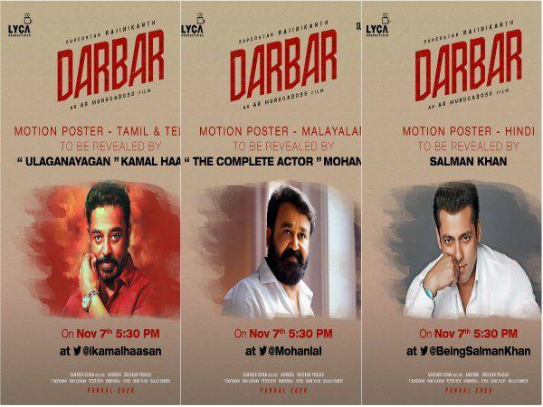 Darbar motion poster unveil by kamal hassan, Mohanlal, Salman Khan
